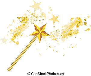 varita mágica, con, magia, estrellas, blanco