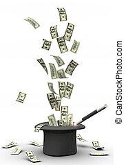 varita mágica, y, dinero