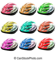 varities color of bicycle safety helmet isolated on white...