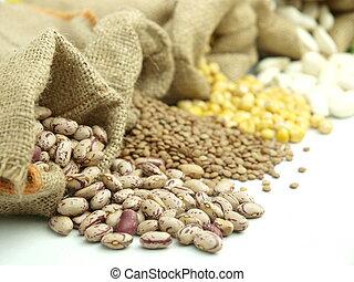 Varius legumes - Burlap sacks with a misc legumes