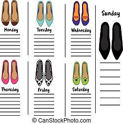 varje vecka, kvinna, kvinnor, fashionabel, shoes., noteringen, schema, dags stadsplanerare, mall, dagbok, organisatör