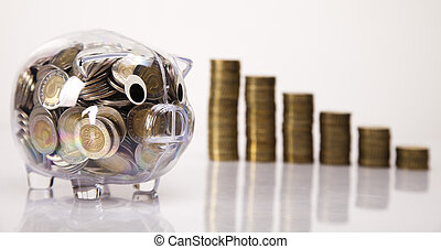 varken, bank, en, geld, opstand, muntjes