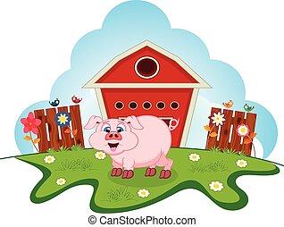 varken, op, boerderij, voor, jouw, ontwerp