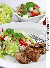 varkensvlees, biefstuk, met, groente