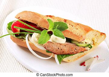 varkensvlees, en, groente, broodje