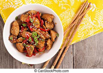 varkensvlees, met, groentes, in, aziaat, stijl
