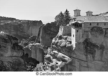 Varlaam and Roussanou monasteries in Meteora, Greece  - ...