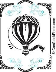 varm, balloon, årgång, luft