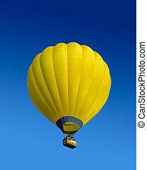 varm, balloon, gul, luft
