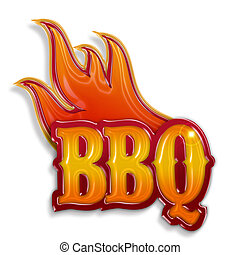 varm, barbecue, etikett, isolerat, vita, bakgrund