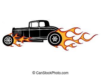 varm, bil, hotrods, gammal, stång, garage, årgång, skola