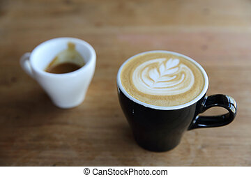 varm, cappuccino, kaffe, på, ved, bakgrund