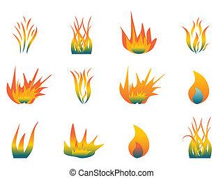 varm, flammor
