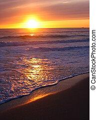 varm, gul, solnedgang