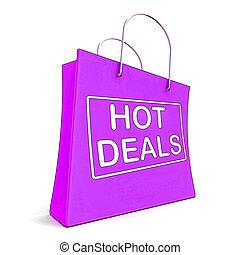 varm, handlar, på, handling väska, visar, att köpslå,...