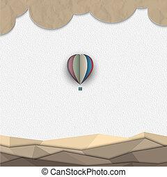 varm, papper, balloon, luft