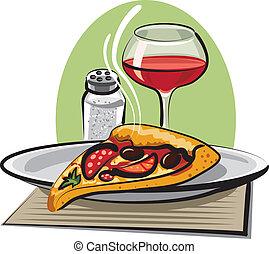 varm, pizza, vin