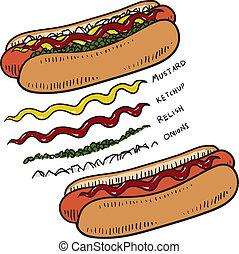 varm, skiss, kryddor, hund