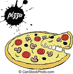 varm, smaklig, pizza