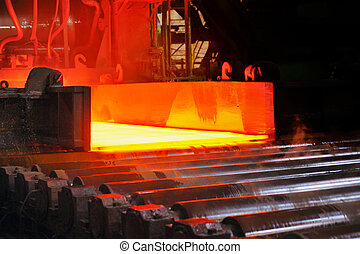 varm, stål, på, transportband