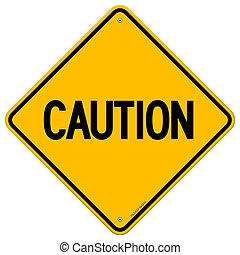 varning, gul signera