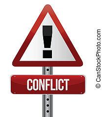varning, konflikt, underteckna