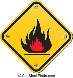 varning, lättantändlig skylt