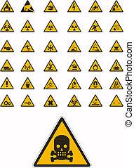 varning, och, säkerhet, undertecknar