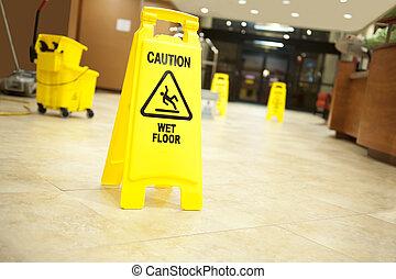varning, påtryckningsgrupp, golvmopp hink, och, underteckna