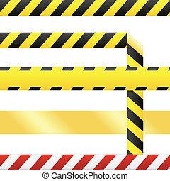 varning, vektor, tejpa, seamless, tom