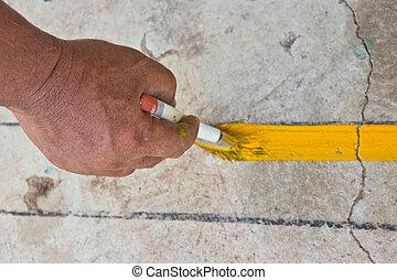 Varnish brush strokes on a road