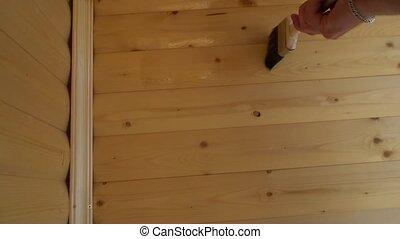 varnish wood coating the walls of the balcony.