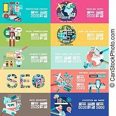 varoius, designs:, style., チームワーク, ワークスペース, brainsotrming, ...
