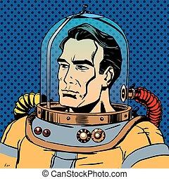 varonil, hombre, astronauta, en, un, traje espacial
