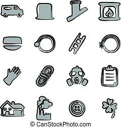 varredor, ícones, cor, 2, freehand, chaminé