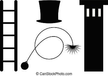 varredor, símbolo, chaminé