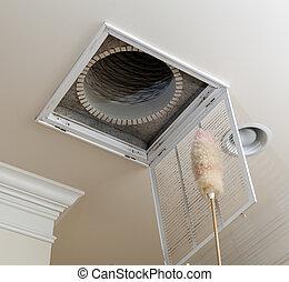 varredura, abertura, para, ar condicionado, filtro, em, teto