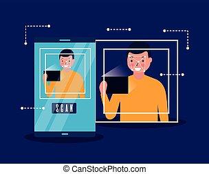 varredura, rosto, homem digital, tecnologia, biometric