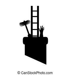 varredura, stuck., silueta, desenhistas, ilustração, ter, vetorial, ferramentas, cano, chaminé, trabalho