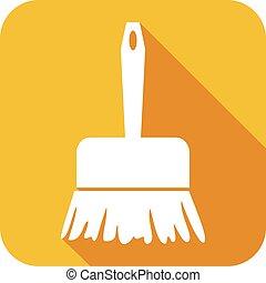 varrendo, apartamento, escova, ícone