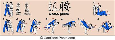 varrendo, quadril, judo, lançamento