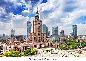 varsóvia, poland., palácio cultura ciência, e, arranha-céus,...