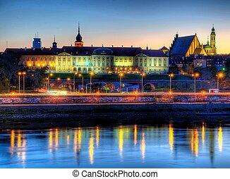 varsóvia, real, castelo, à noite