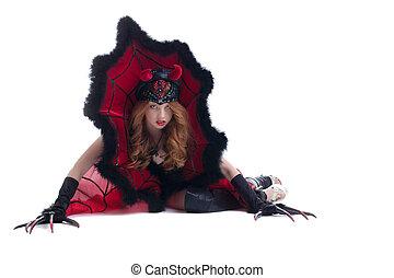 varsam, rödhårigt, flicka, framställ, in, tusan kostym