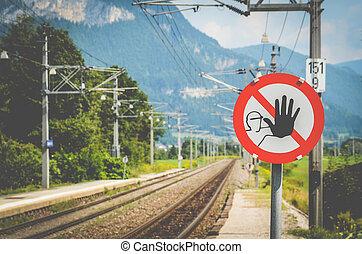varsel underskriv, hos, en, tog station
