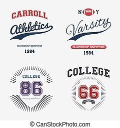 Varsity College Print Vector Illustration