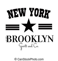 Varsity New york Brooklyn college university division team sport baseball label typography, t-shirt graphics for apparel