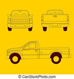 varubil, fodra, lastbil, illustration