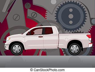 varubil, kugghjul, lastbil, bakgrund