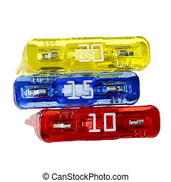 Varying amperage car fuses - Car fuses, differentiated by ...